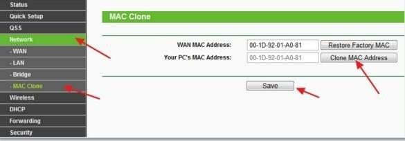 Раздел «MAC Clone»