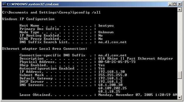 Выполнение команды ipconfig
