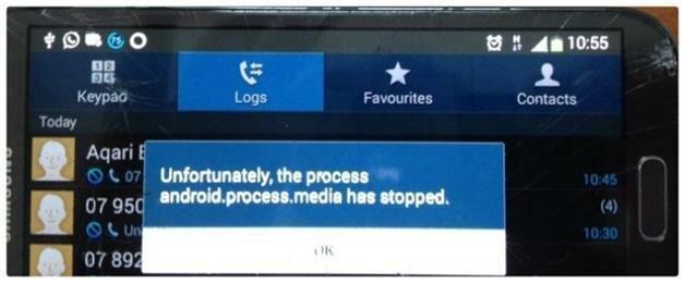 Сообщение об ошибке на телефоне Андроид