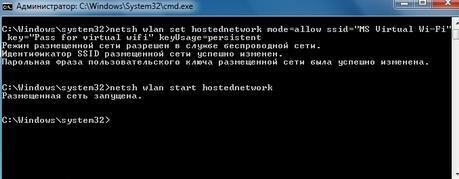 Выполнение команды netsh wlan start hostednetwork