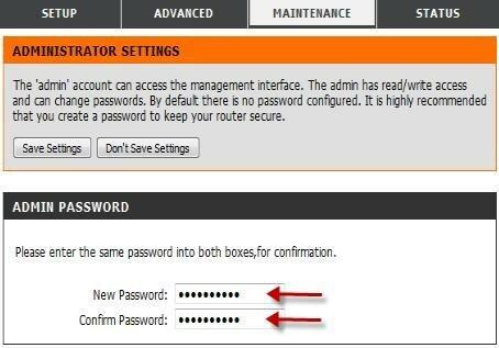 Настройка пароля администратора