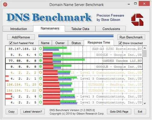 Утилита DNS Benchmark