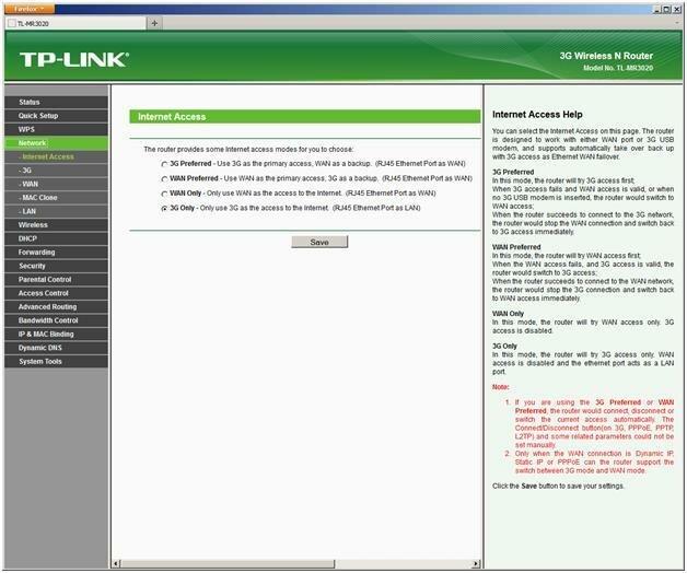 Настройка доступа в интернет на TL MR3020